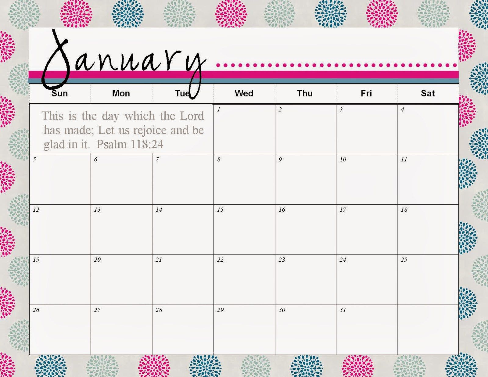 January calendar 2017 colorful | Xmas