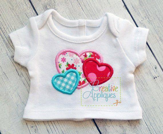 Small heart trio valentine applique machine embroidery design