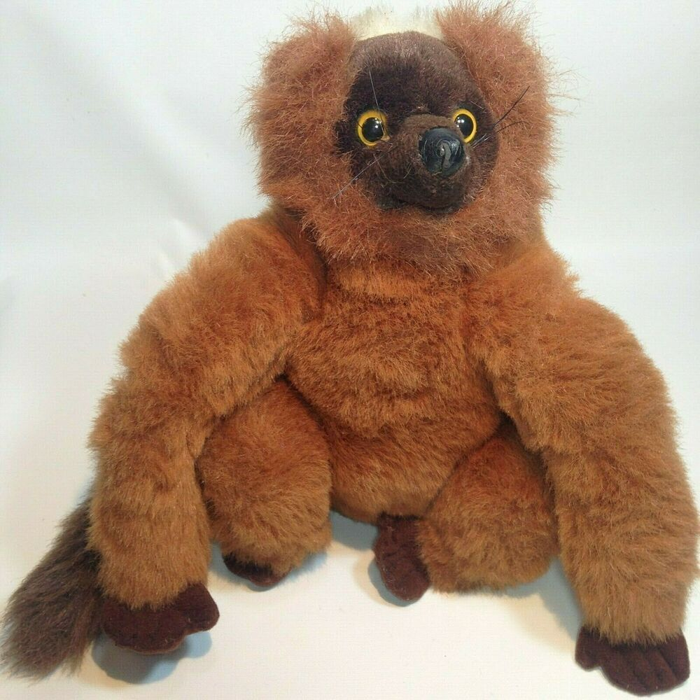 RARE Brown Lemur K&M Wild Republic Plush Sitting Stuffed