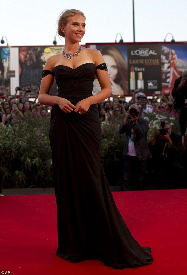 Scarlett Johansson Oozes Hollywood Glamour In An Off The Shoulder Gown At Venice Film Festival Premiere Of Under Skin
