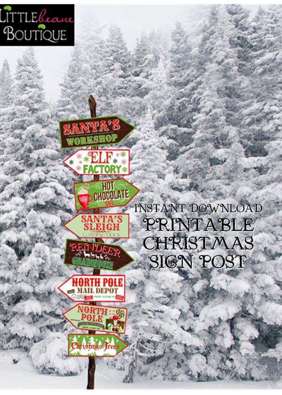 Printable Christmas Signs Diy Santa Claus Signs Santas Etsy In 2021 Christmas Signs Diy North Pole Christmas Santa Workshop Sign
