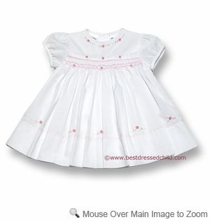 f690a3582a92f Sarah Louise Infant Baby Girls White Smocked Dress with Panty and Pink  Embroidery