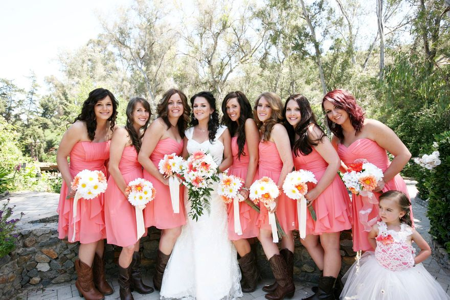 Coral bridesmaids and cowboy boots | Kimberly Loya Photography ...
