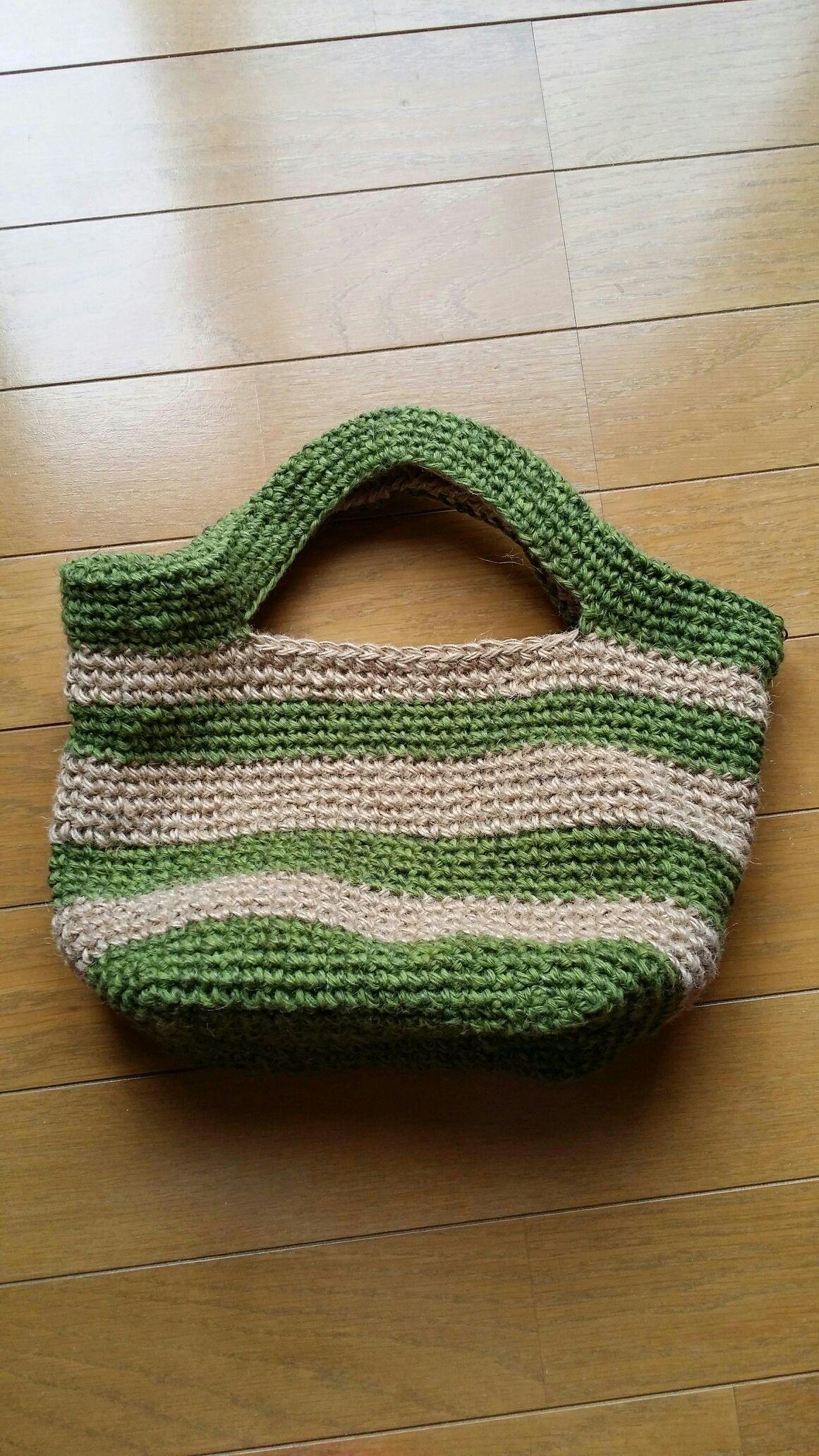 25b321dd248c 麻のボーダーバックの作り方|編み物|編み物・手芸・ソーイング|作品カテゴリ|アトリエ
