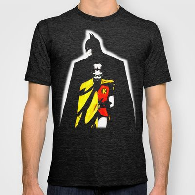Batman Robin Team watercolor pen acrylic T-shirt