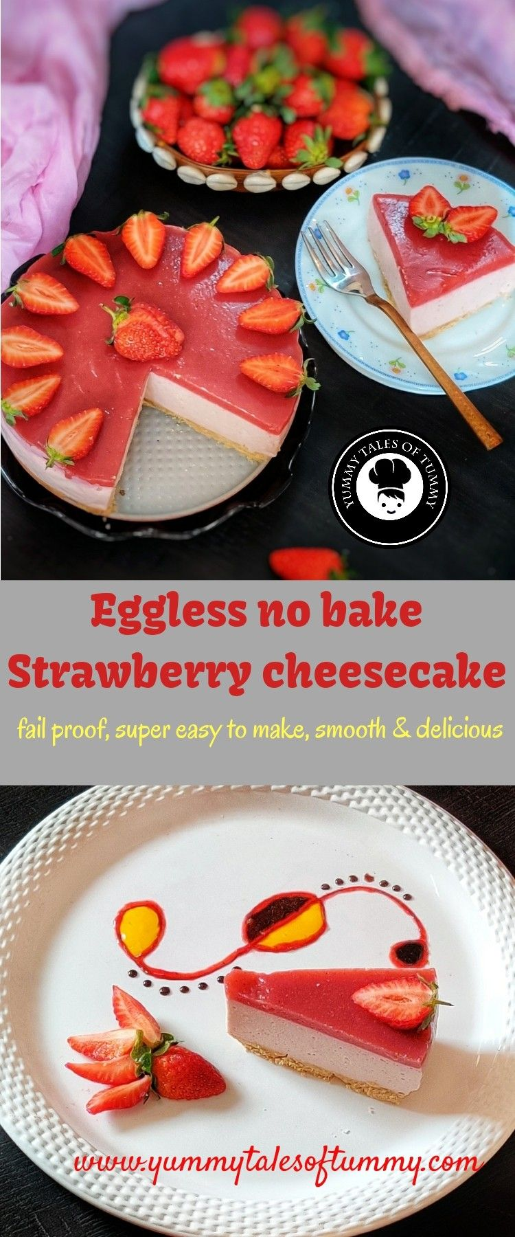 Eggless no bake strawberry cheesecake in 2020 baked