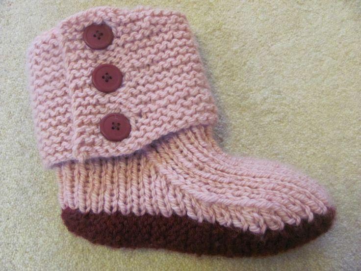 Free Knitting Patterns | Free knitting pattern for easy slippers ...