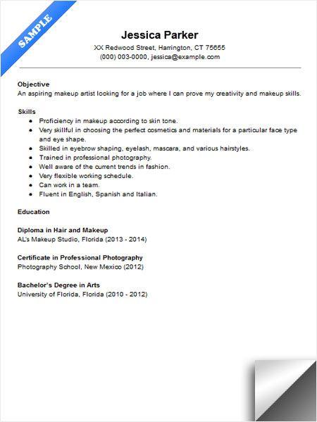 Beginner Makeup Artist Resume Sample Resume Examples Artist Resume Makeup Artist Resume