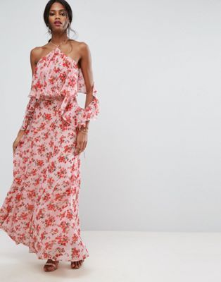 Bon Rosy Womens Ruffle Off Shoulder Printed Boho Maxi Dress