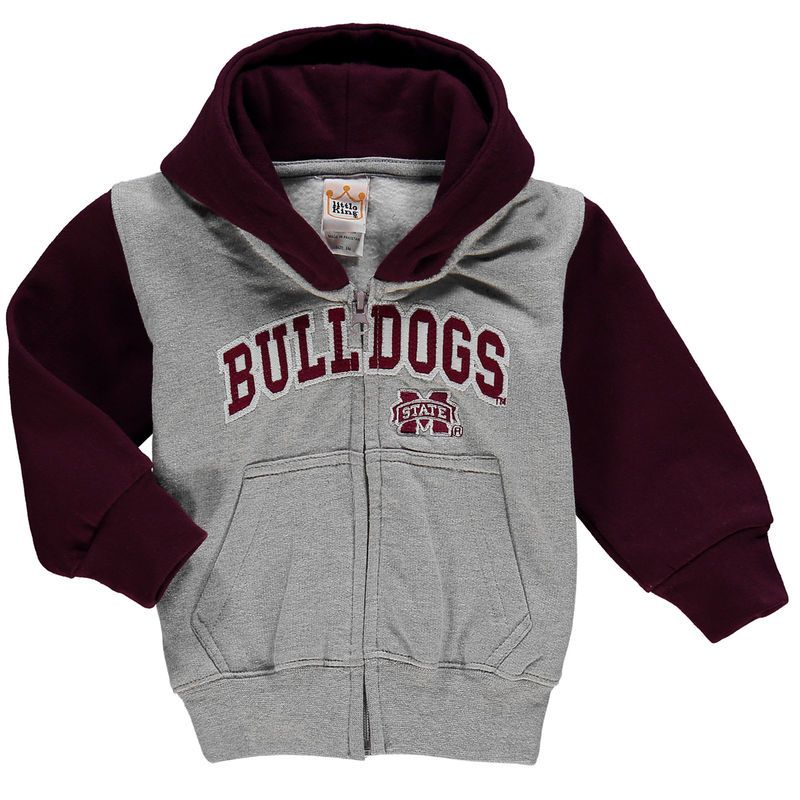 Mississippi State Bulldogs Toddler Raglan Full-Zip Fleece Hoodie - Gray/Maroon