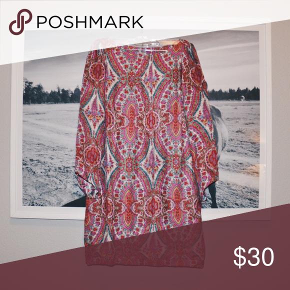 Scarf Print Dress Zara scarf print dress with bell sleeves Zara Dresses Mini