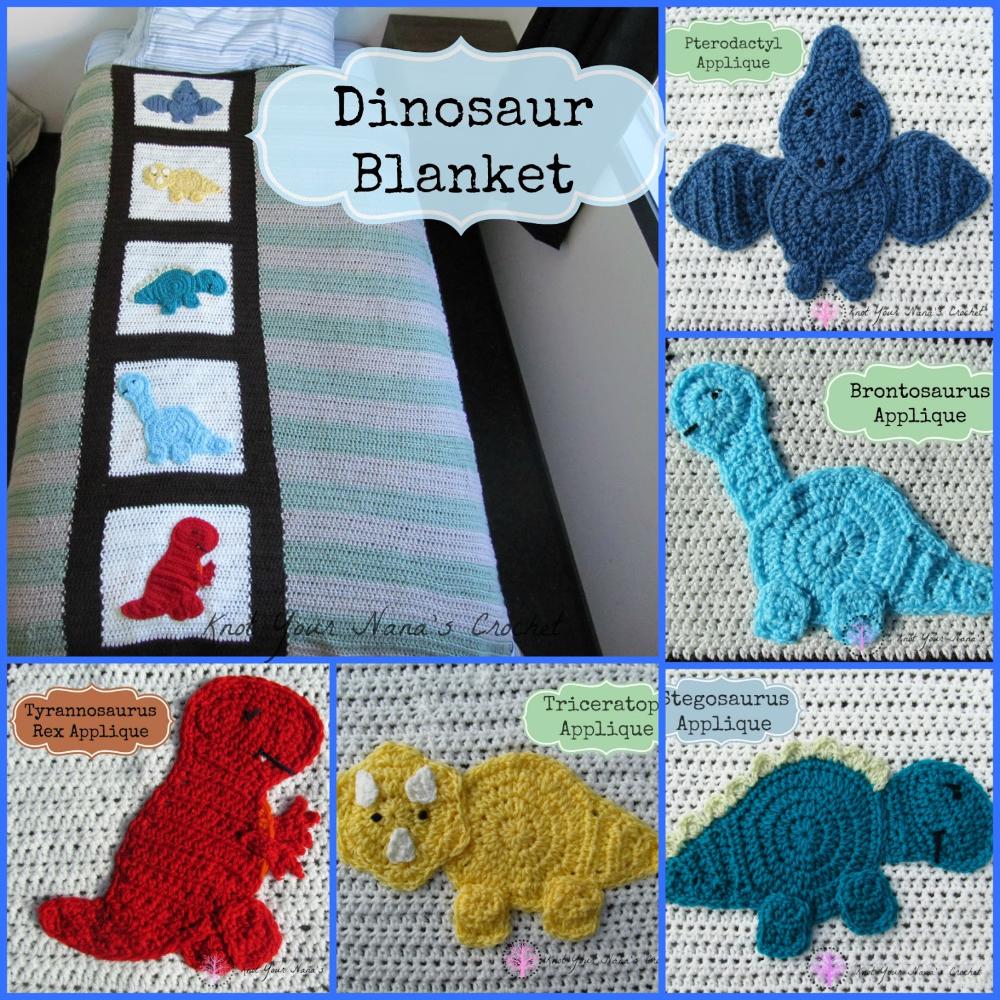 Knot Your Nana's Crochet: Crochet Dinosaur Blanket #crochetdinosaurpatterns