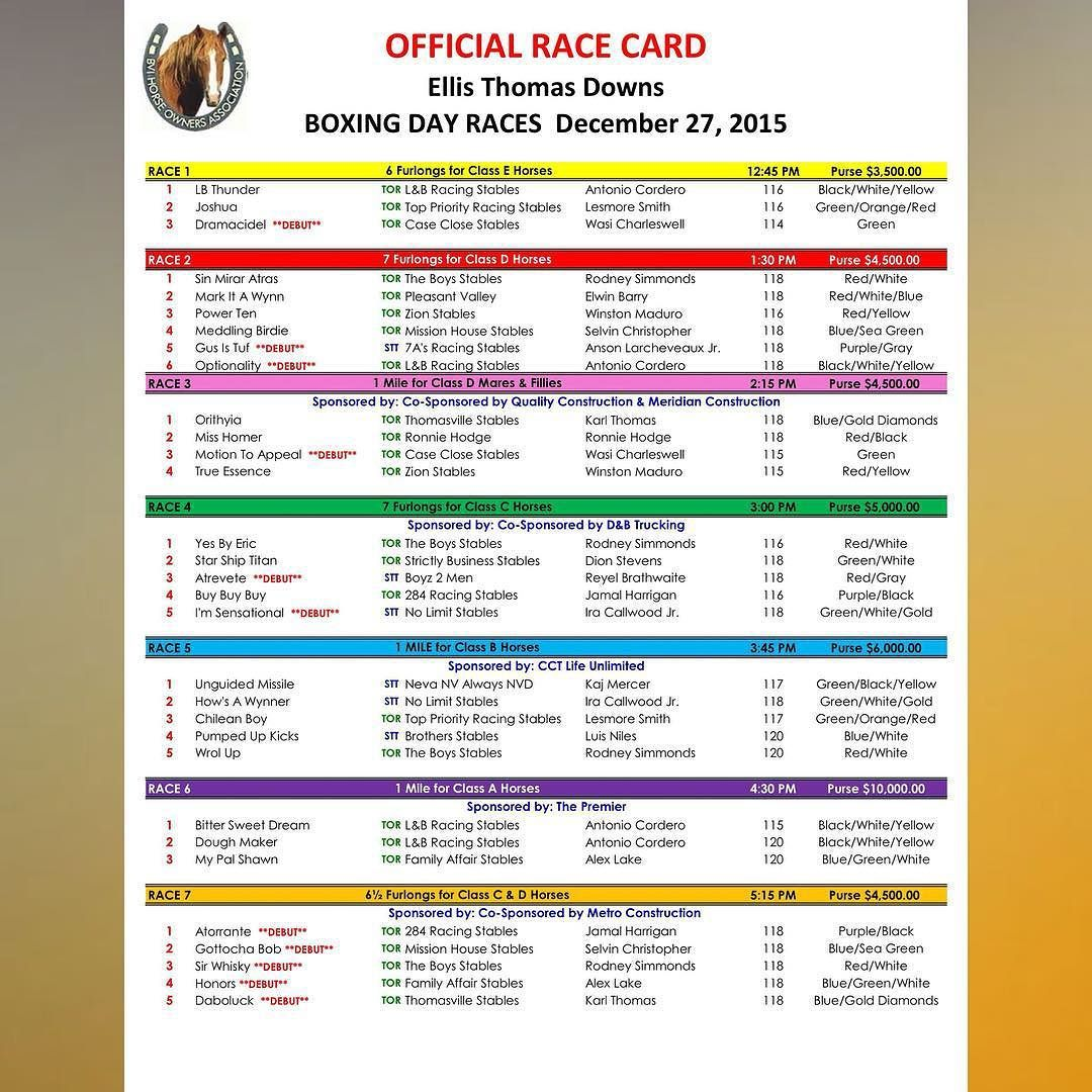 SUNDAY 27th December @ #EllisThomasDowns #Tortola #BVI | Boxing Day Races | 12:45PM POST TIME | Sponsored by: @cctbvi