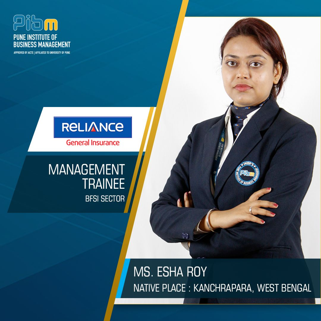 Pibm Congratulates Ms Esha Roy For Getting Placed At Reliance