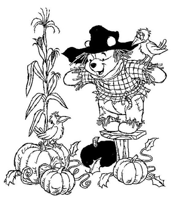 Pooh Scarecrow Thanksgiving Coloring Pages Fall Coloring Pages Halloween Coloring Pages