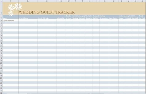 Guest Tracker! Free and Easy wedding Pinterest Wedding guest