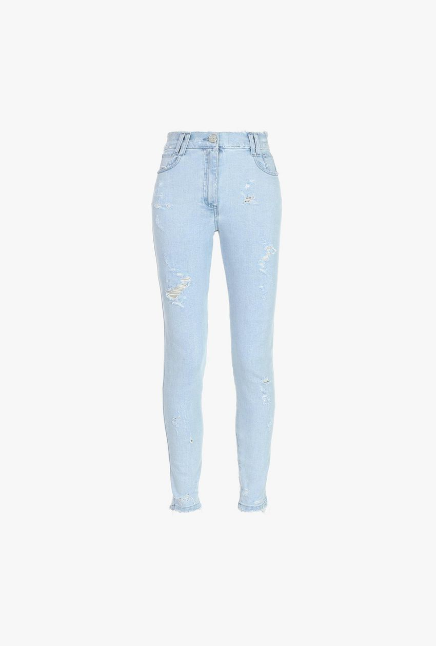 High Waisted Faded Light Blue Skinny Jeans For Women Balmain Com Jeans Outfit Women Light Blue Skinny Jeans Skinny Jeans