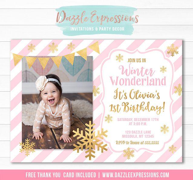 Printable Pink And Gold Winter Wonderland Birthday Invitation