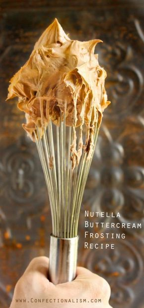 Nutella Buttercream Frosting Recipe - a creamy delicious Nutella icing that's perfect for any cake, cupcake, or just by the spoonful!