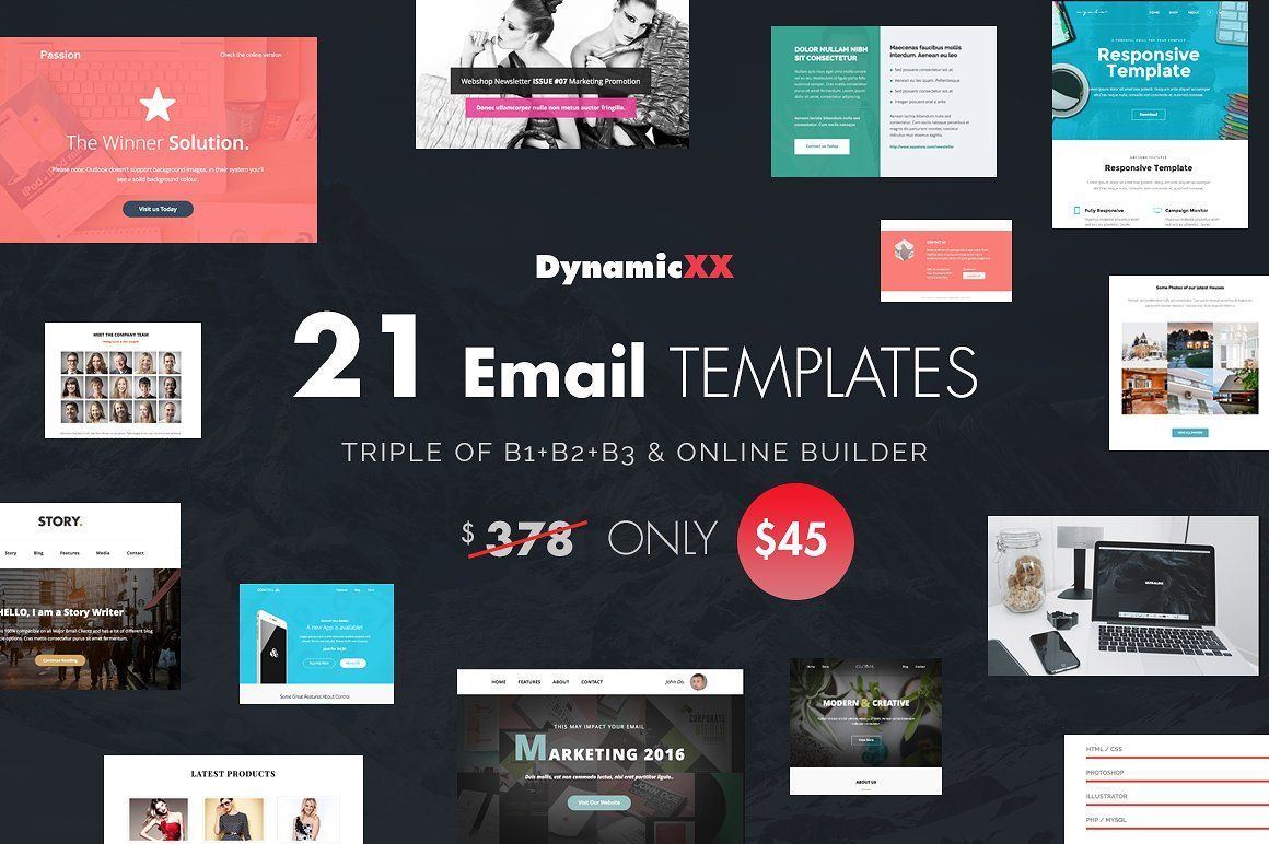 BUNDLE of 21 Email Templates Triple Email templates