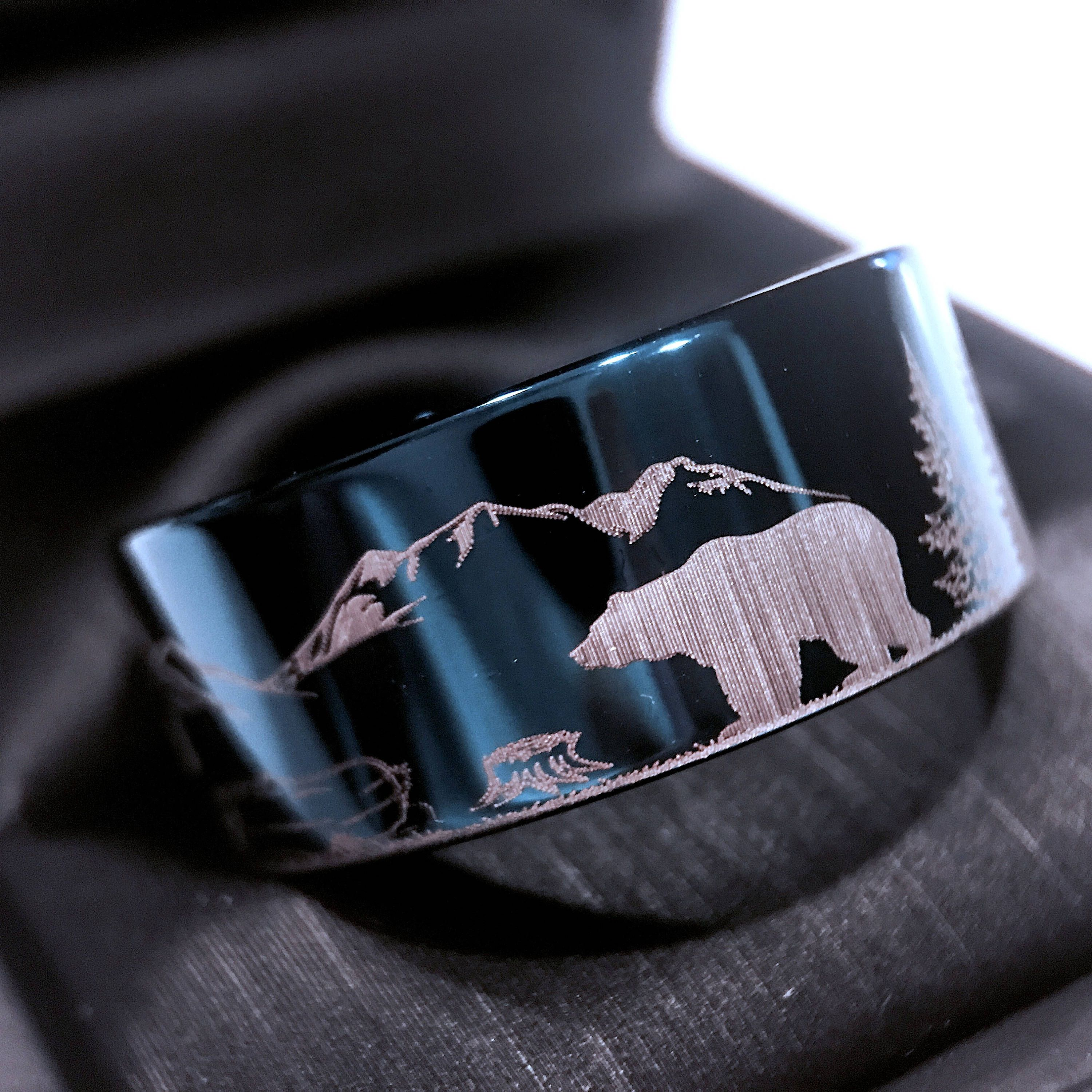 Bears In Mountains Forest Landscape Mens Tungsten Wedding Band Rings Custom