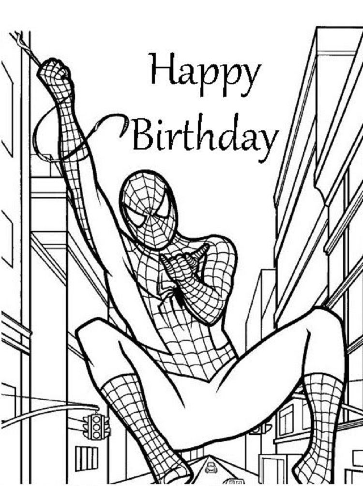 Superhero Birthday Coloring Pages Birthday Coloring Pages Superhero Coloring Pages Spiderman Coloring