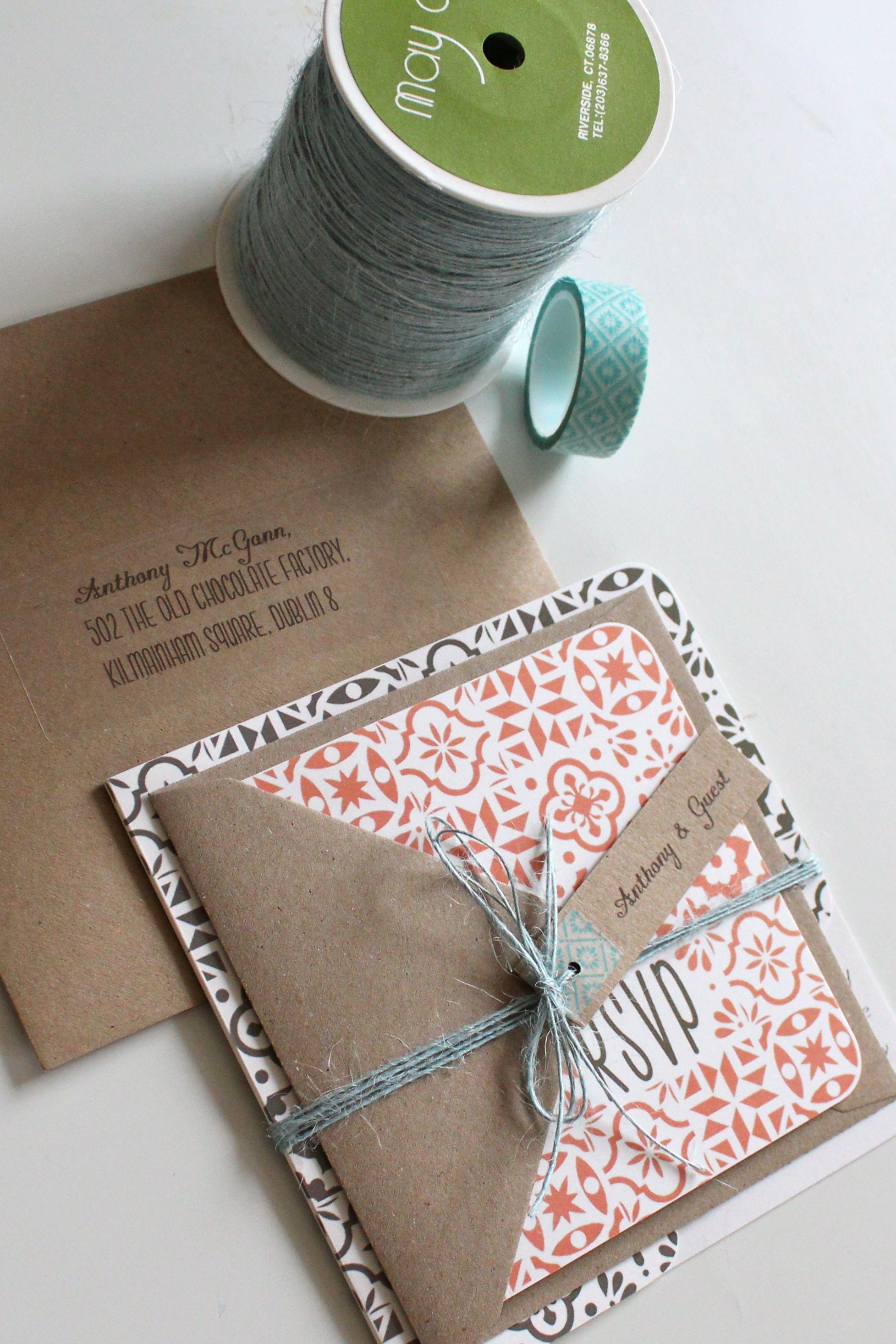 J S Spanish Tile Style Wedding Invite Graphic Design Pinterest