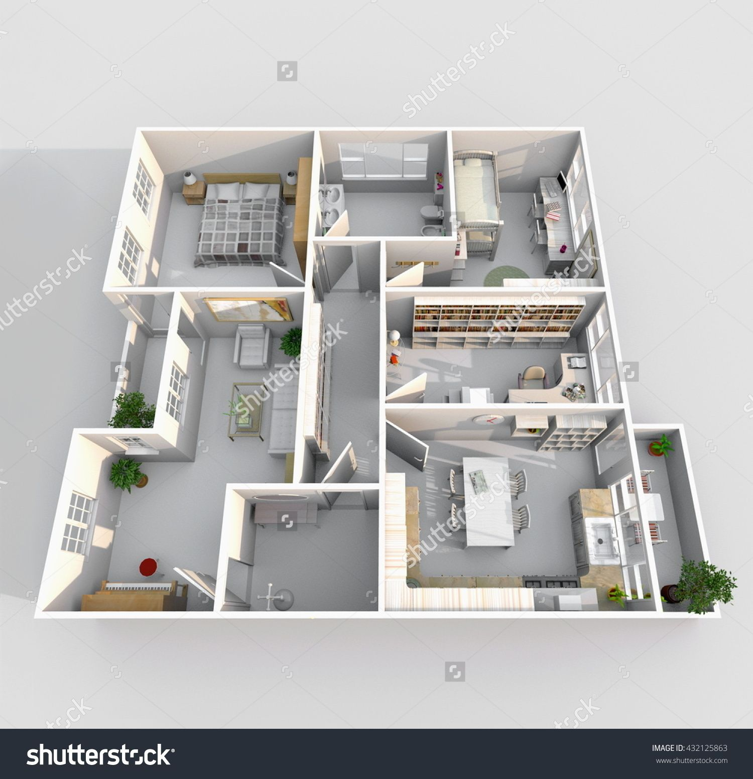 3d Interior Rendering Perspective View Of Big Furnished Home Apartment With Balcony Room Bathroom