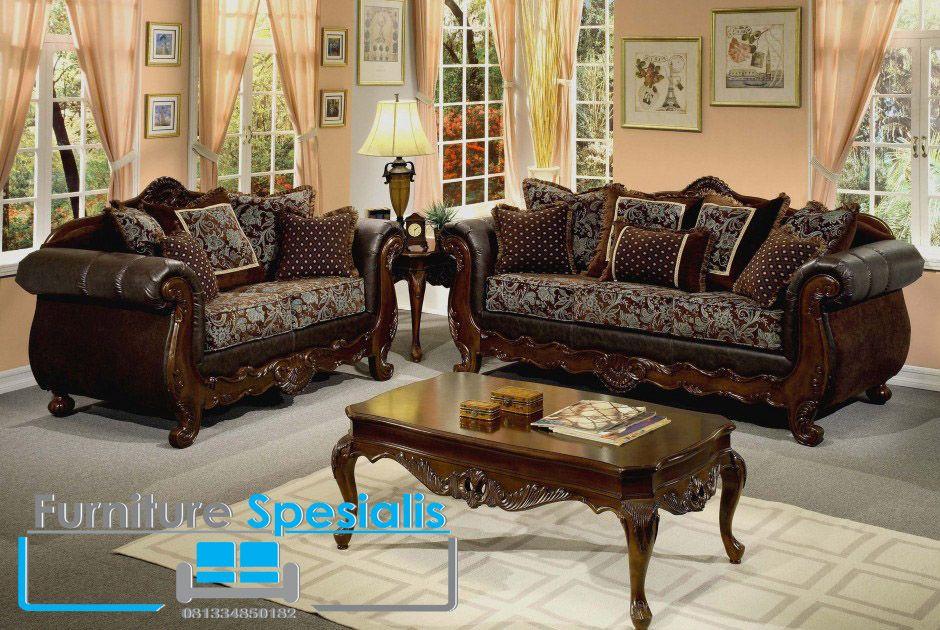 Set Kursi Tamu Ukir Klasik Chocolate Desain Sofa Ruang Keluarga Minimalis Furnitur Ruang Keluarga