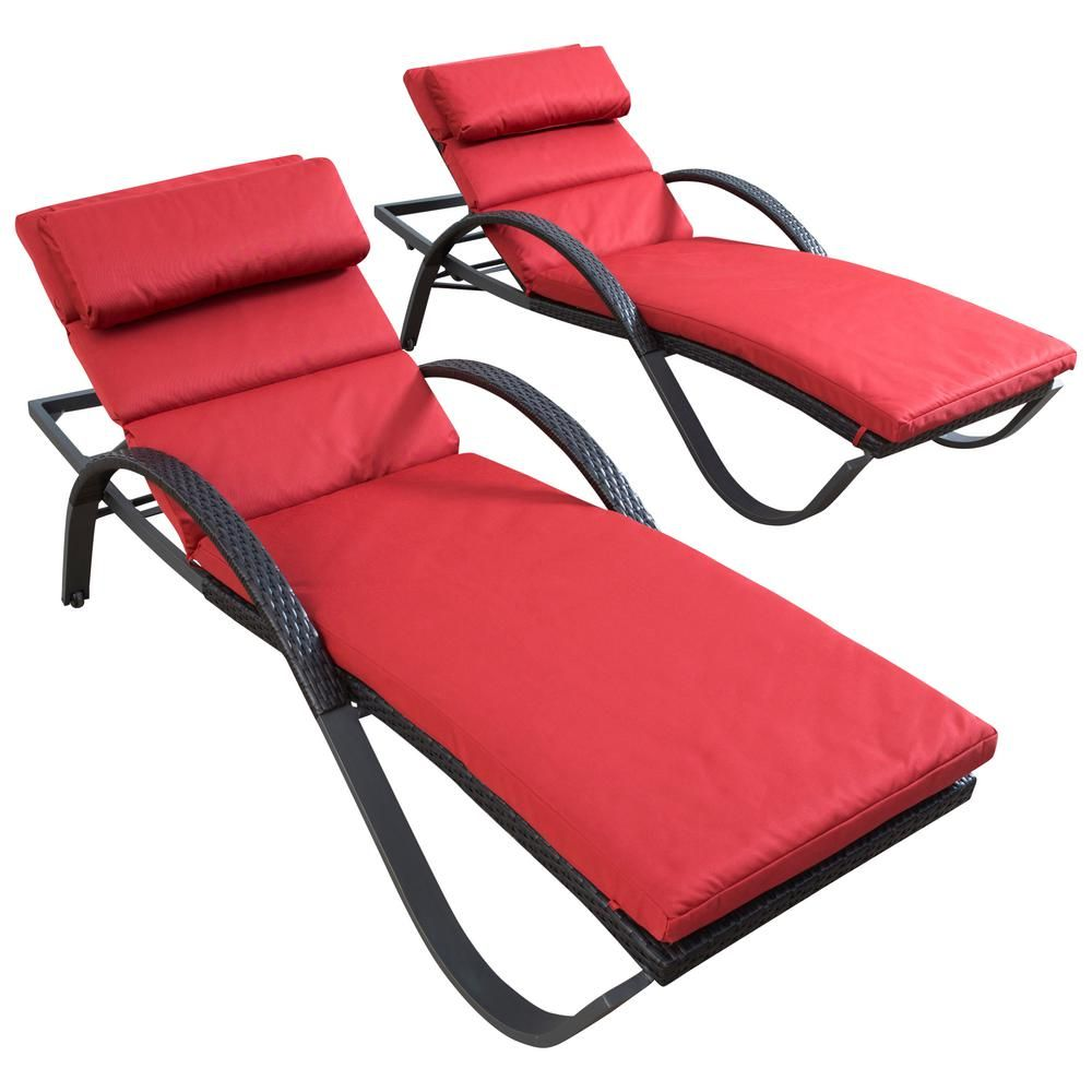 Rst Brands Deco Patio Chaise Lounge With Cantina Red