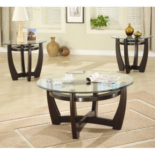 Contemporary Glass 3 Piece Occasional Table Set