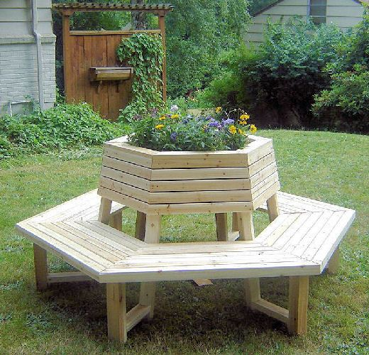 hexagonbench cedar wood planter cluster seating bench home