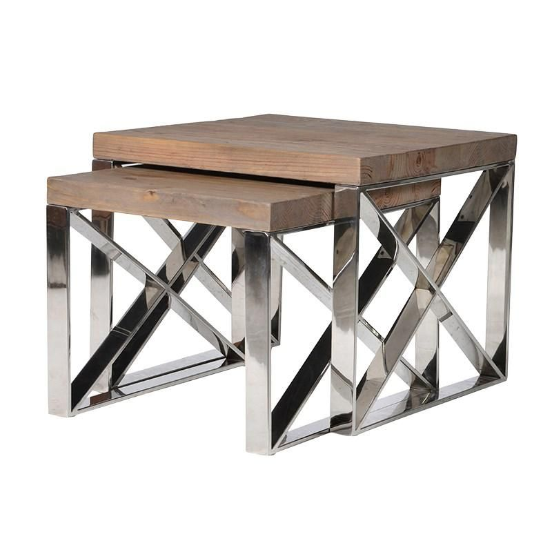Steel & Wood Contemporary Nest Tables Side Tables