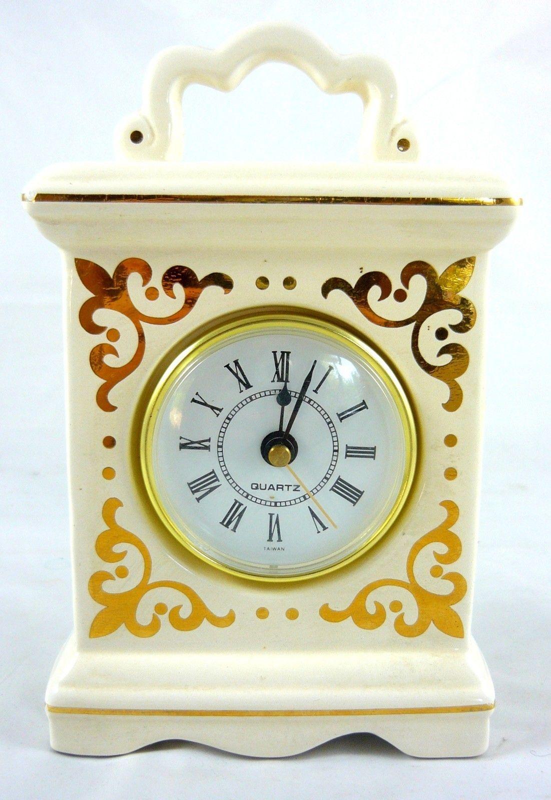 Vintage Ceramic Carriage Mantel Clock White Gold Accent Quartz 7 Tall Ebay Vintage Clock Clock Vintage Ceramic