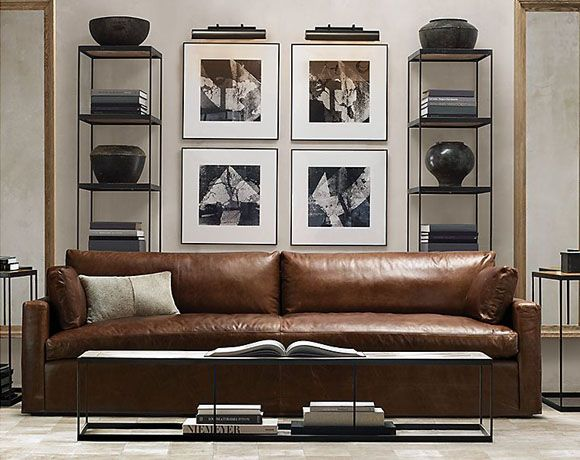 Another glamasculine living room from restoration hardware for Restoration hardware living room furniture