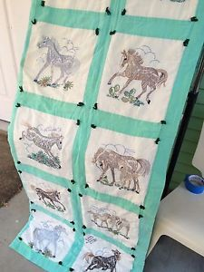 "Vintage 1980's Quilt Mint Green Border Hand Embroidery Horses Foals 54"" x 85"" 