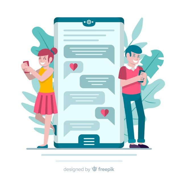 Download Flat Design Couple Chatting On Dating App for