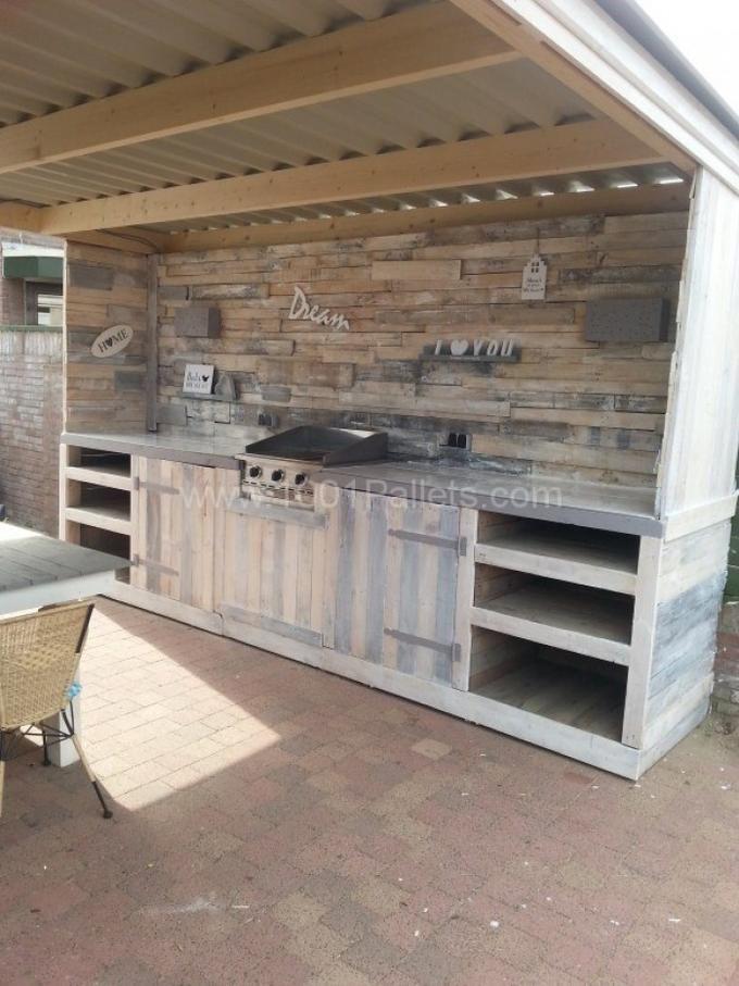 Tolle Außenküche aus Paletten | Outdoor Sitting area | Pinterest