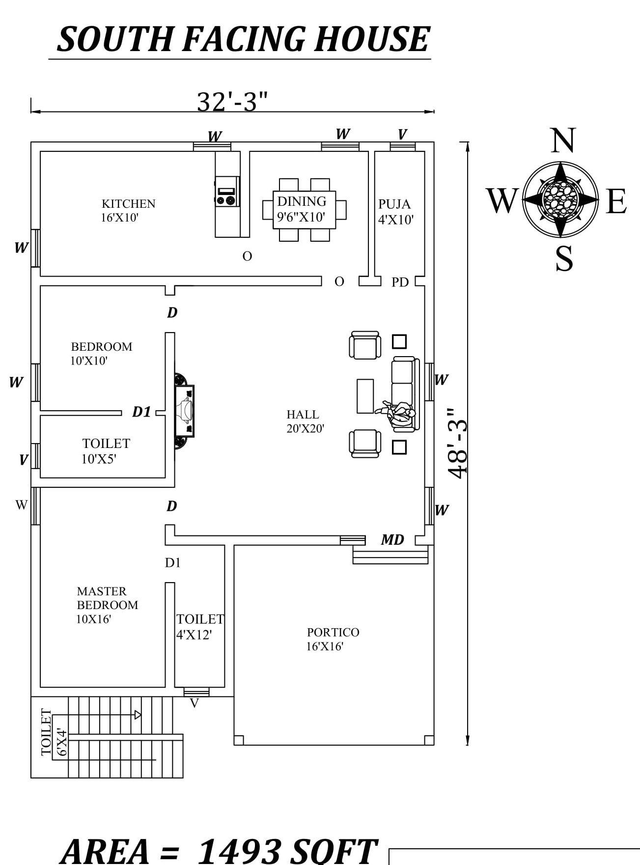32 X48 Wonderful 2BHK South Facing House Plan As per vastu Shastra Autocad DWG File Details