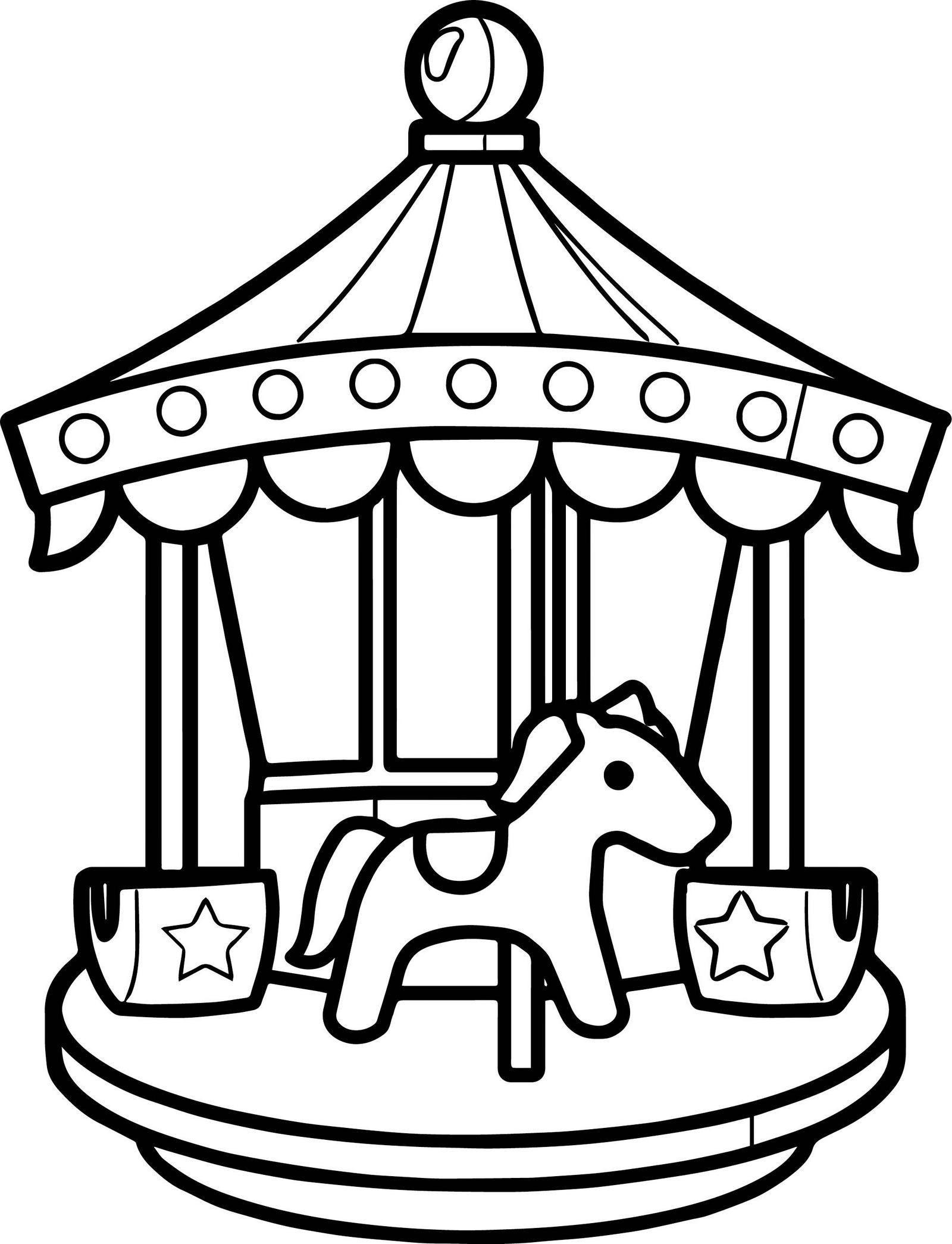 Cute Lighted Carousel Coloring Page Kermis Thema Thema Draaimolen