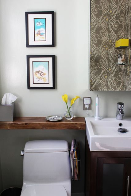 Annie Pierson S Bright And Cheerful Home House Tour Shelves Above Toilet Shelves Over Toilet Bathroom Decor