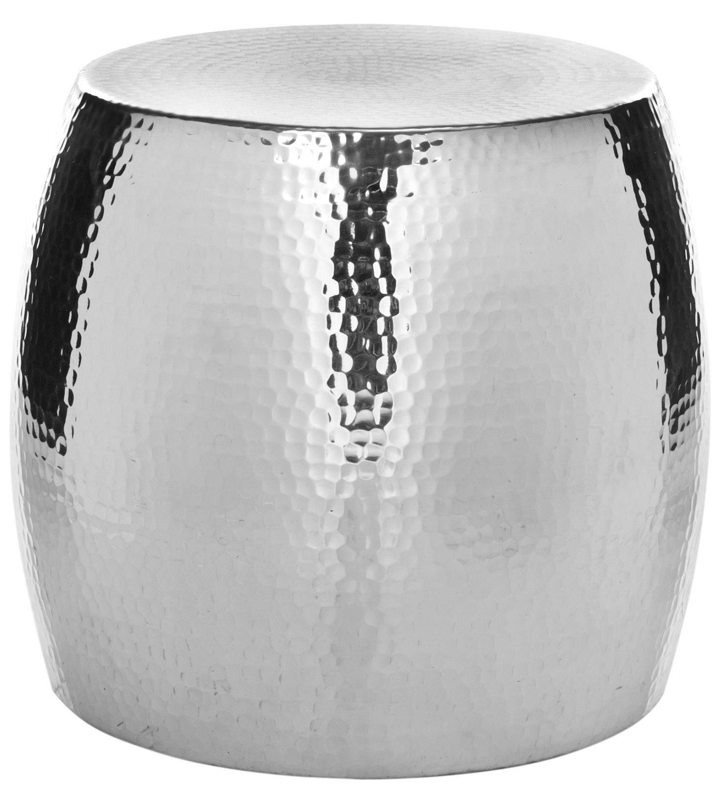 The Odin Round Hammered Stoolu0027s Resilient Polished Aluminum Silver Sparkle  And Subtly Textured Finish Create Its Brilliant Persona.