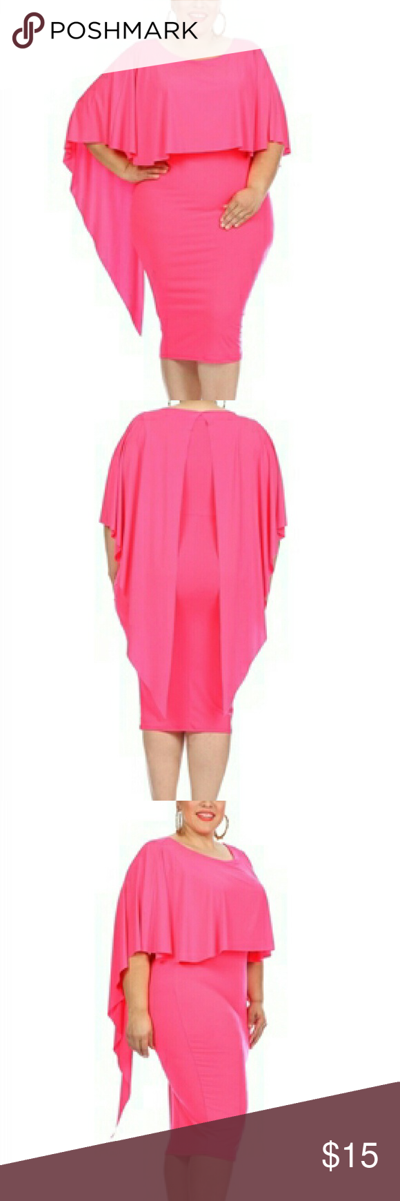 Plus Size Waterfall Cape Hot Pink Dress NWT | Muchas y Vestiditos