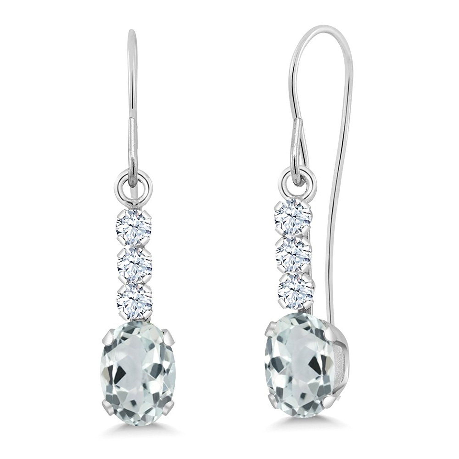 1 04 Ct Oval Sky Blue Aquamarine 10K White Gold Earrings You can