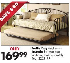 guestroom trellis daybed with trundle from big lots save 60 or something similar. Black Bedroom Furniture Sets. Home Design Ideas