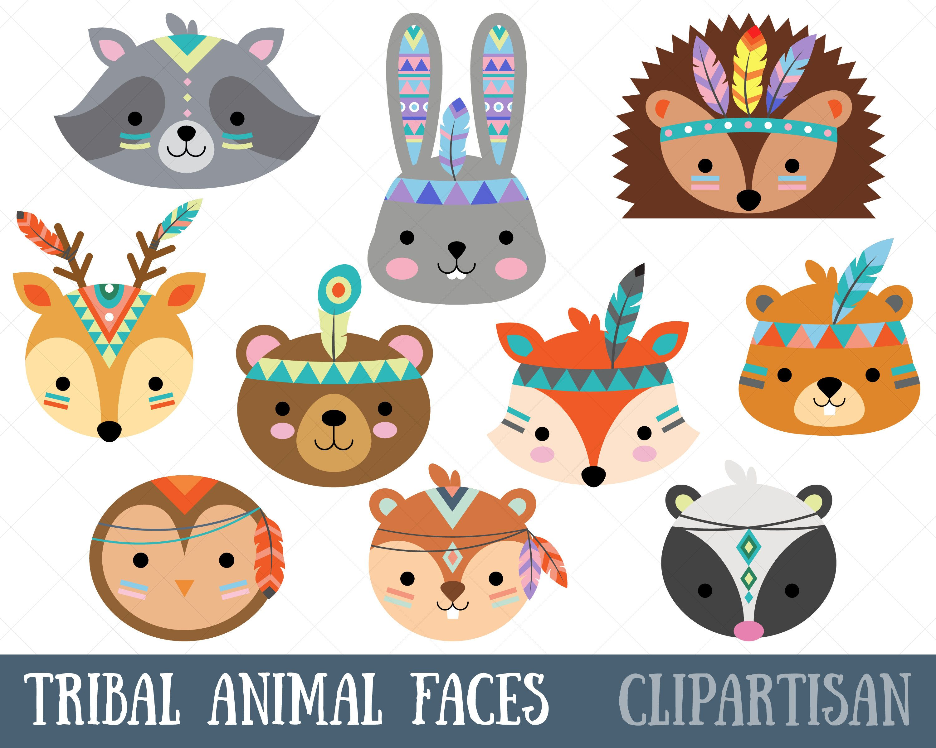 Tribal Animal Faces Clipart Woodland Animal Faces