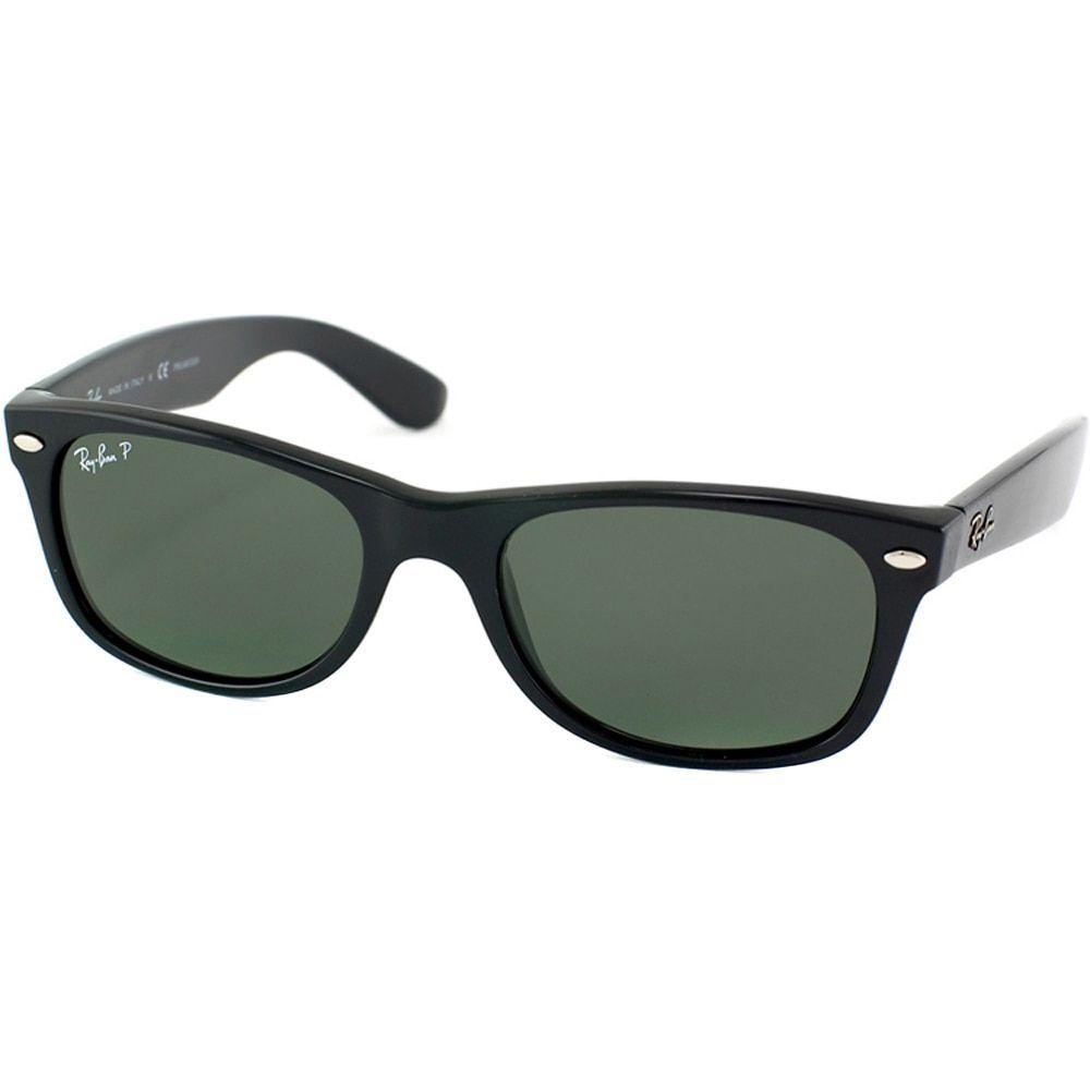 22c0ea1fb8d Ray-Ban RB 2132 901 New Wayfarer Black Plastic Sunglasses with Green ...