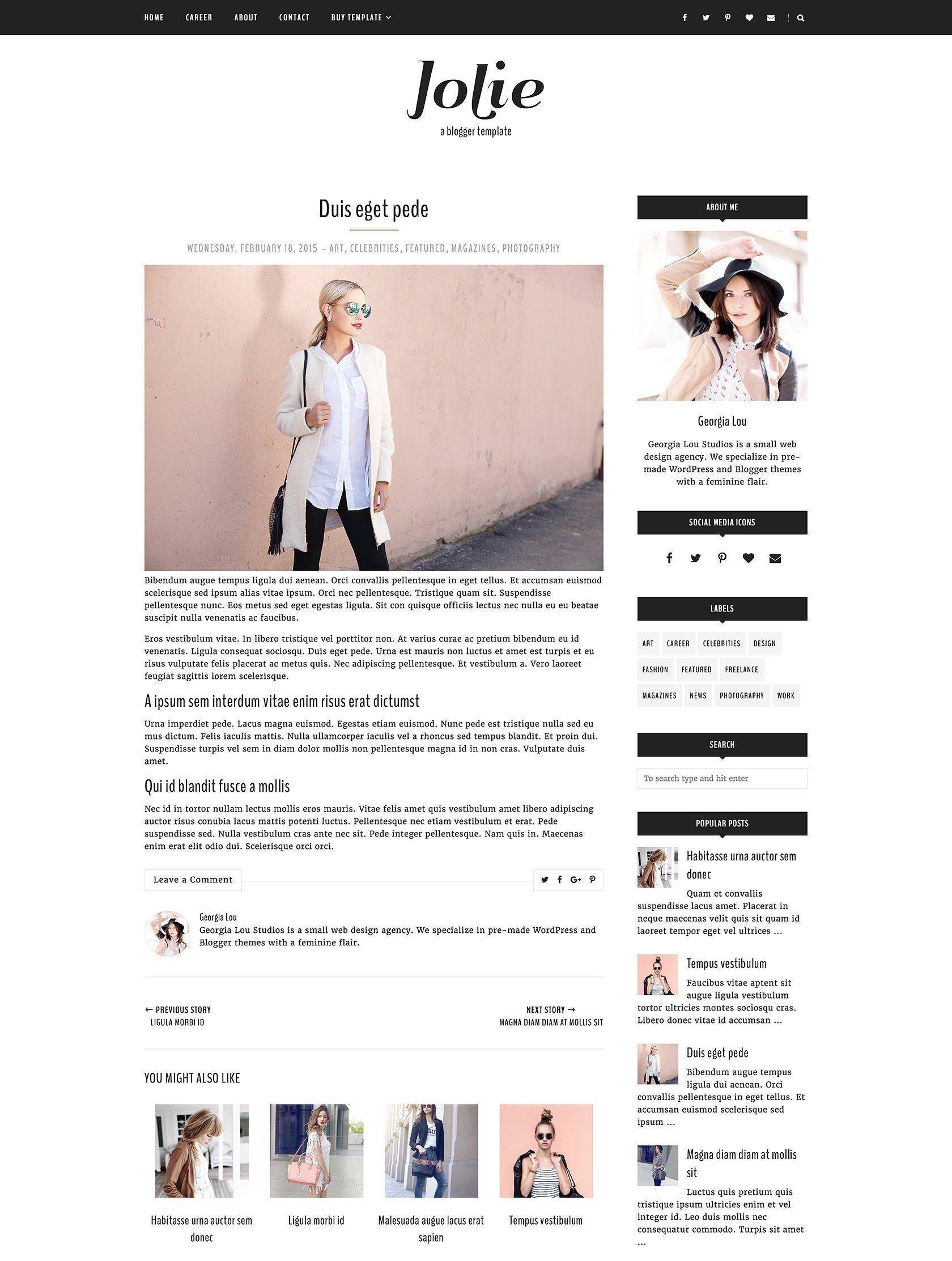 Blogger Template Responsive - Jolie