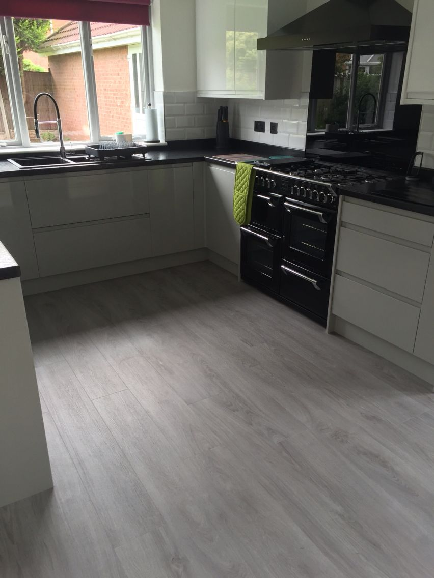 Kitchen Floor Finally Done Moduleo Classic Oak Love The New White Pewter High Gloss Units