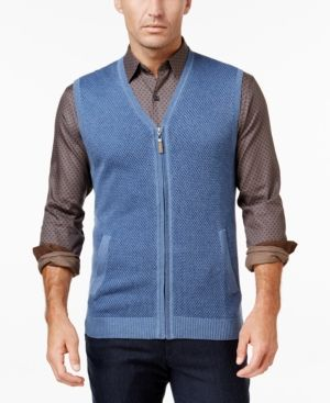 6c037f81 Tasso Elba Men's Big and Tall Zip-Up Texture Vest, Only at Macy's - Blue  4XLT